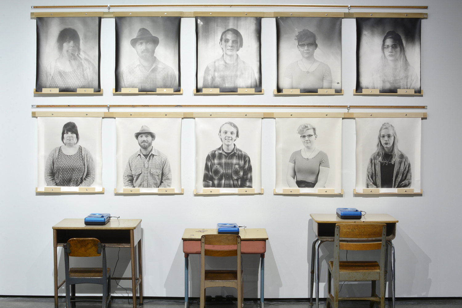 Portraits and Oral History Recordings, Gelatin Silver Print and School Desks & Chairs